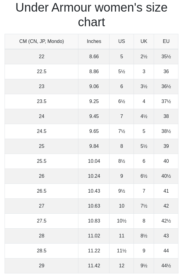 Under Armour women's size chart