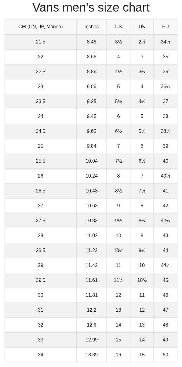 Vans men's and women's size chart | RunRepeat