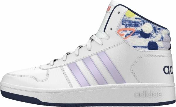 Adidas Hoops 2.0 Mid - Ftwr White Purple Tint Tech Indigo (EG1990)