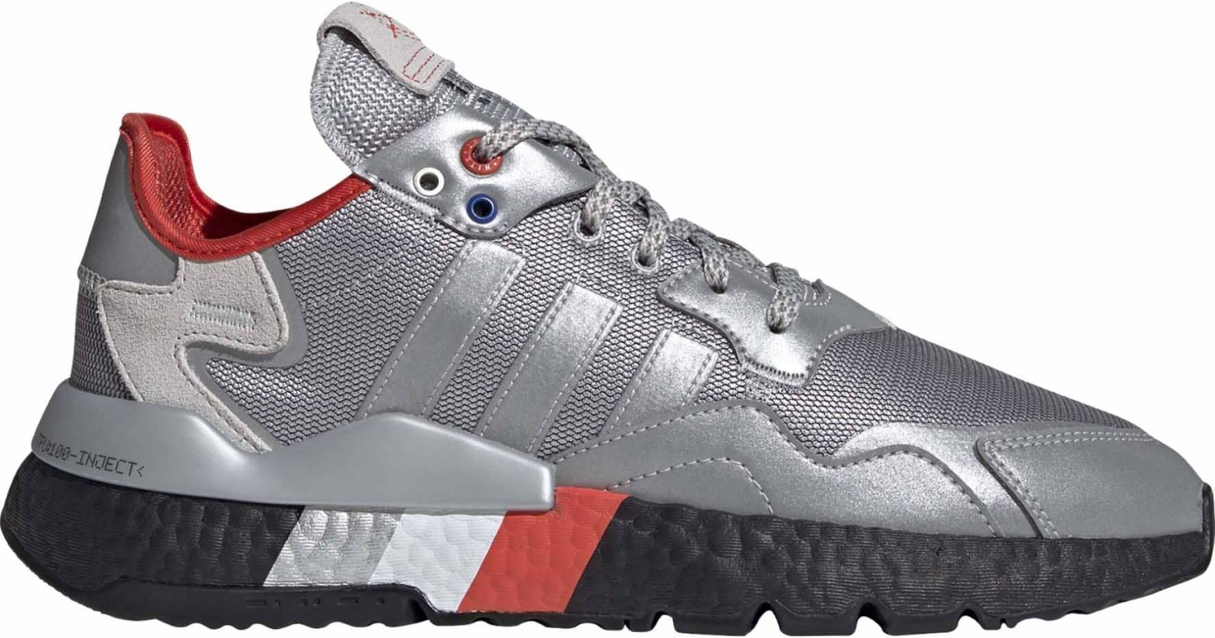 silver athletic shoes