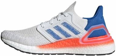 Adidas Ultraboost 20 - Crystal White / Glory Blue / Solar Red (EG0708)