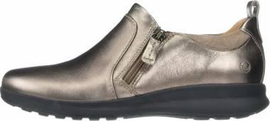 Clarks Un Adorn Zip - Pebble Metallic Leather Suede Combi (26144320C54)