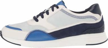 Cole Haan Grandpro Running Sneaker - Ivory Nautical Blue Maritime Blue Leather/Morning Mist &Marine Blue Suede/Optic White (W14253)