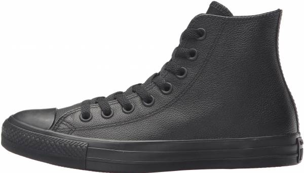 black leather high top converse
