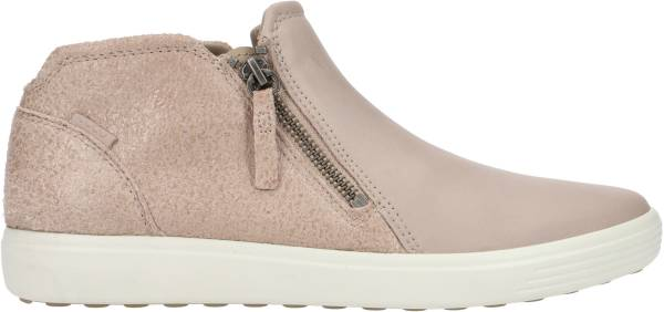 Ecco Soft 7 Low Cut Zip Bootie - Grey Rose/Grey Rose Cow Leather/Cow Nubuck