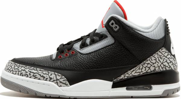 hot sale online f3509 9cd61 Air Jordan 3 Retro Black, Varsity Red-cement Grey