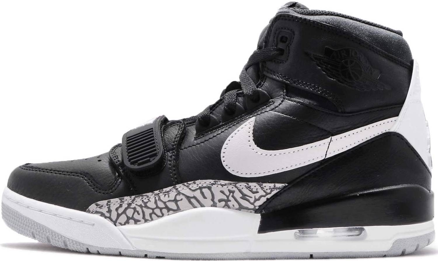 black and white jordans with straps