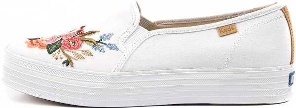 Keds X Rifle Paper Co. Triple Decker Lively Embroidery White Canvas