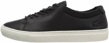 Lacoste L.12.12 Unlined Leather Trainers Black/Off White Leather Men