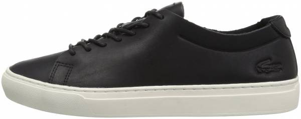 Lacoste L.12.12 Unlined Leather Trainers Black/Off White Leather