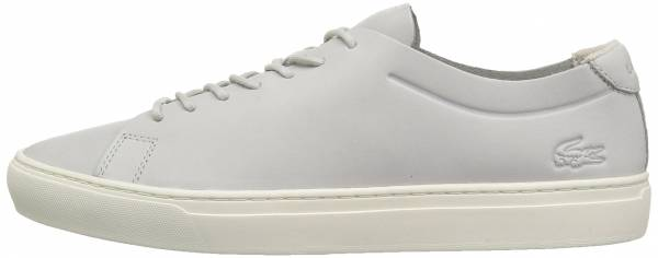 Lacoste L.12.12 Unlined Leather Trainers - Light Grey/Off White Leather (735CAM0058235)
