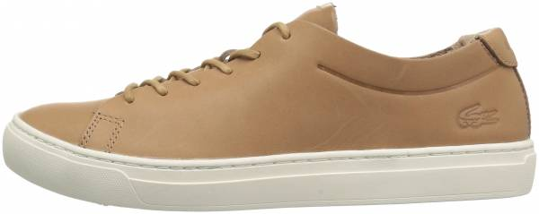 Lacoste L.12.12 Unlined Leather Trainers Light Tan/Off White