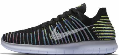 Nike Free RN Flyknit - Negro Black White Volt Blue Lagoon (831069003)