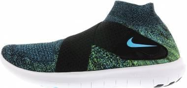 Nike Free RN Motion Flyknit 2017 - Black Chlorine Blue Volt White (880845004)