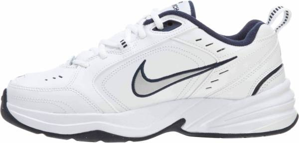 the latest 60f36 bb44c Nike Air Monarch IV WhiteMetallic SilverMidnight Navy