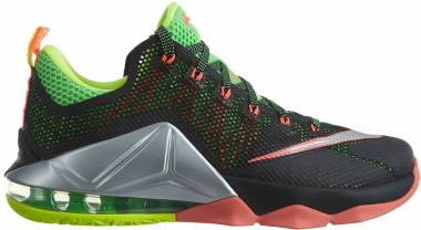 Nike LeBron XII Low - Black Metallic Silver Green Strk Volt