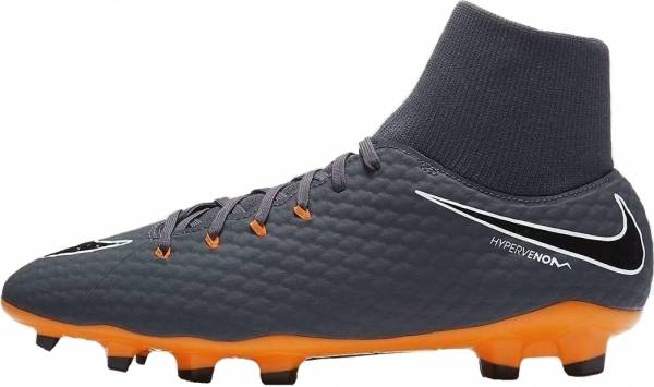 100% authentic fa2be 5bc83 Nike Hypervenom Phantom III DF Academy Firm Ground Grau (Grau / Orange Grau  / Orange