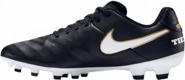 Nike Tiempo Genio II Leather Firm Ground - Black White Gold (819213010)