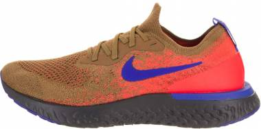 e909123338e Nike Epic React Flyknit Golden Beige Racer Blue-Total Orange Men