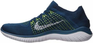 Nike Free RN Flyknit 2018 Green Abyss/White/Blue Force/Volt Men