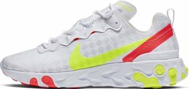 Nike React Element 55 - White/Volt-flash Crimson