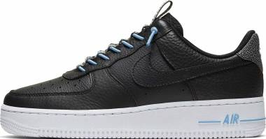 Nike Air Force 1 07 Luxe - Black / Black - Light Blue - White