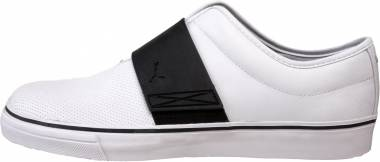 Puma El Rey Cross Perf Leather Slip-On - White/Black/Silver Metallic