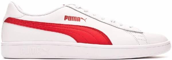Puma Smash v2 Leather - Puma White High Risk Red Gray Violet (36521509)
