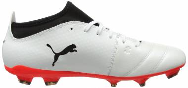Puma One 17.3 Firm Ground - Bianco White Black Fiery Coral