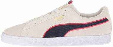 Puma Suede Classic Sport Stripes - Beige Vaporous Gray Ribbon Red Peacoat