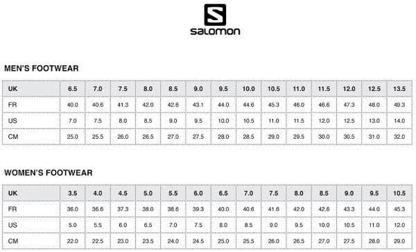 salomon trail shoes size guide mens