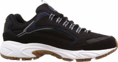 Skechers Stamina - Cutback - Black Black Leather Pu Mesh Navy Trim Bk Nv (BKNV)
