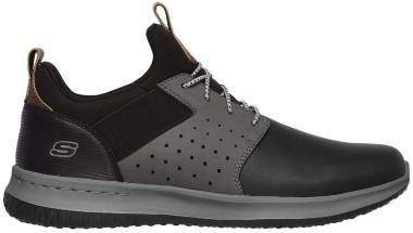 Skechers Delson - Axton - Black Black Gray Leather Bkgy (BKGY)