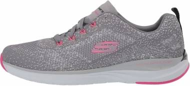 Skechers Ultra Groove - Gris Gray Knit Mesh Hot Pink Trim Gyhp (757)