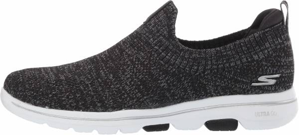 Skechers GOwalk 5 - Trendy - Black Black Textile Gray Trim Bkgy (023)