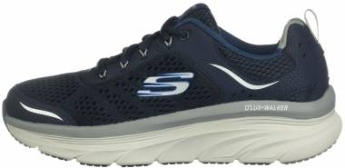 Skechers D'Lux Walker - Blue Navy Leather Mesh Gray Trim Nvgy (420)