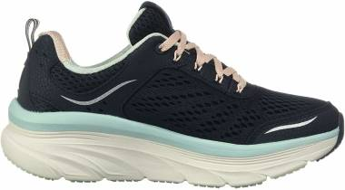 Skechers D'Lux Walker - Blue Navy Leather Mesh Lt Pink and Lt Blue Trim Nvlb (456)