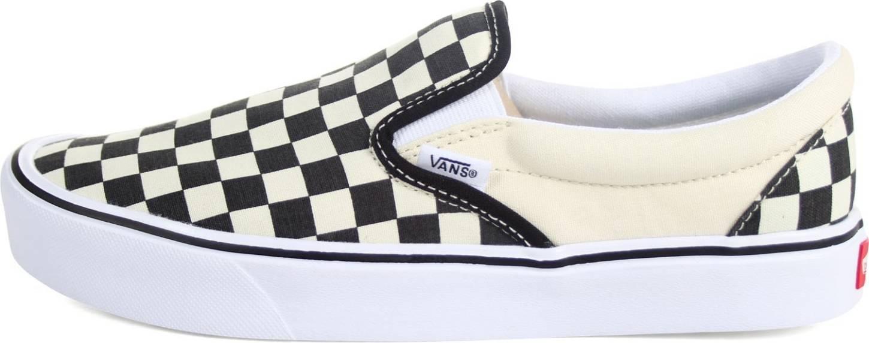 black checkerboard vans slip on