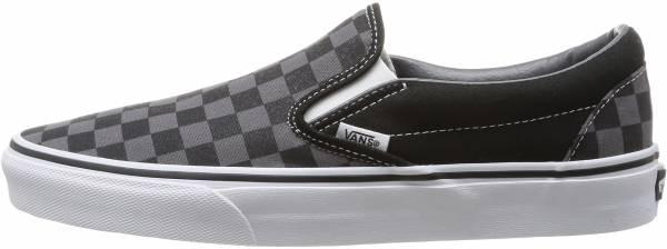 vans black pewter checkerboard slip on
