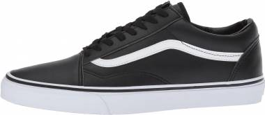 Vans Leather Old Skool - Negro Classic Tumble Black True White (VA38G1NQR)
