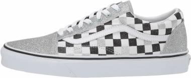 Vans Glitter Checkerboard Old Skool - Silver/True White