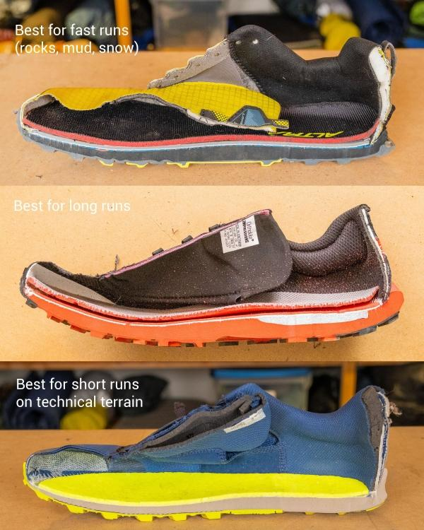 Purpose of different trail running shoes