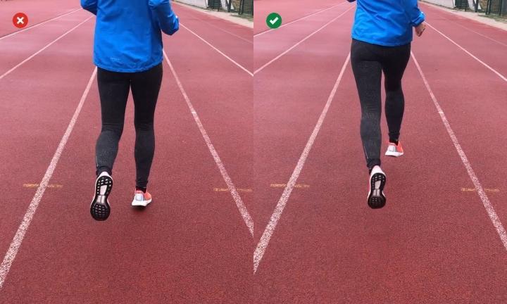 Make narrow steps when running