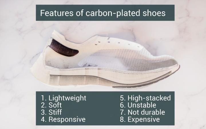 Features of carbon fiber plated running shoes