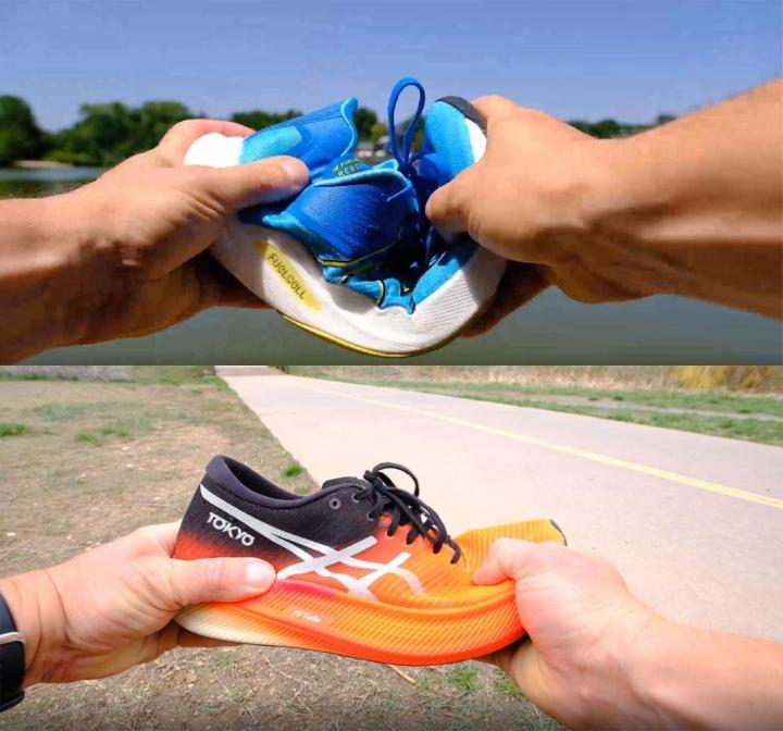 Manual testing of flexibility in running shoes