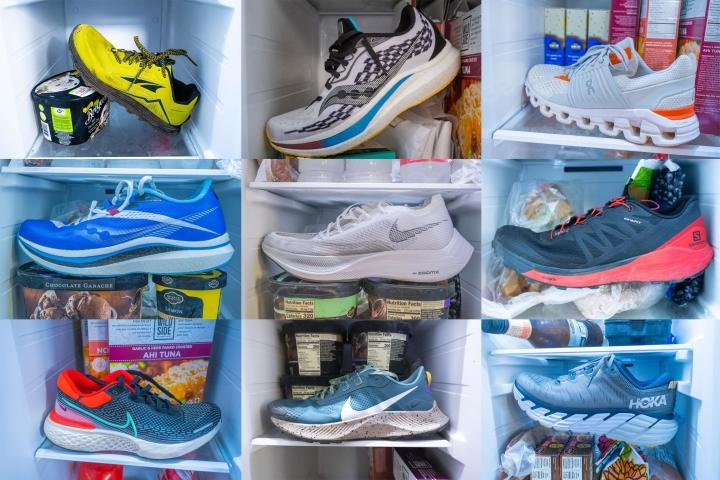 Running shoes in a freezer