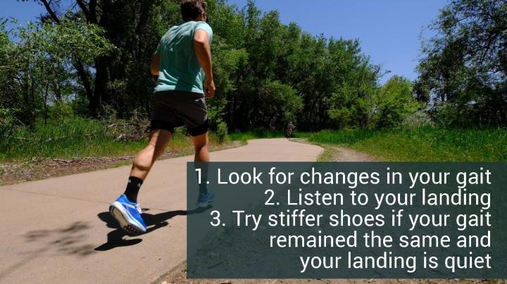Going stiffer in running shoes