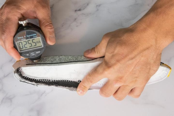 Durometer measuring midsole hardness in running shoes