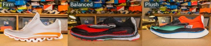 Firm, balanced and plush running shoes examples