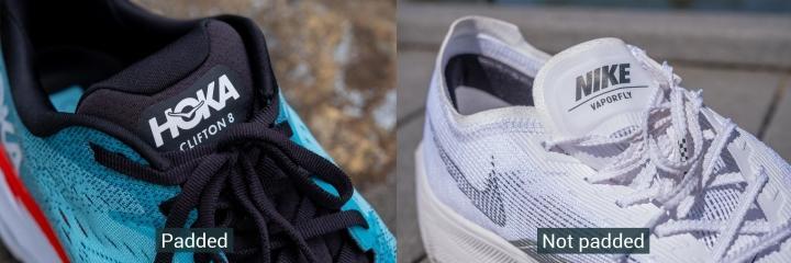 Padded vs not padded running shoes